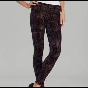 J Brand Mirage grey super skinny velvet jeans